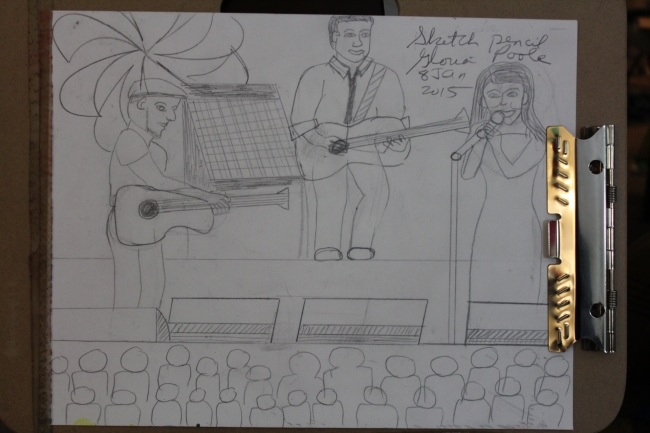 Pencil drawing of the Brother's band and singer by Gloria Poole, RN,artist,  of Missouri; with pencil #555 on 9x12 paper.