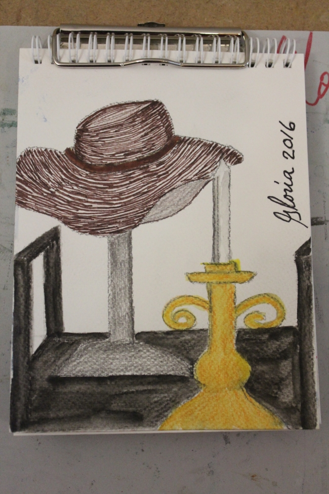 my-hat-and-candlestick-sketch-drawn-by-gloriapoole-of-Missouri-10-Mar-2016-6x8-watercolor